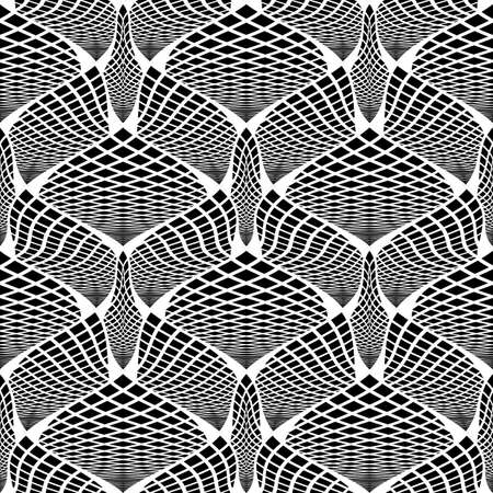 deform: Design seamless monochrome checked pattern. Abstract diagonal twisted textured background Illustration