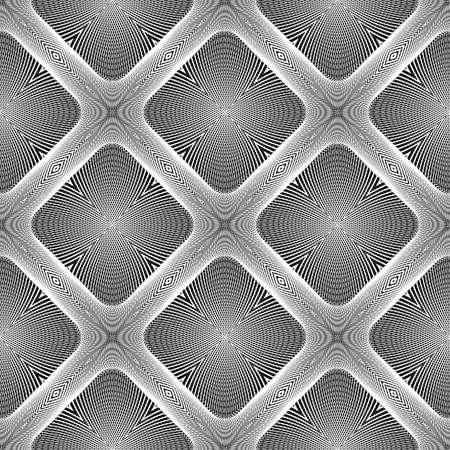 line art: Design seamless diamond geometric pattern. Abstract monochrome lines background