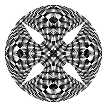 checkered volume: Design warped circle textured backdrop. Abstract geometric monochrome element