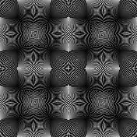 concave: Design seamless monochrome illusion pattern. Abstract lines textured background Illustration