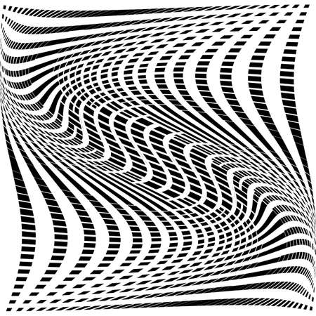 torsion: Design monochrome movement illusion background. Abstract grid torsion backdrop Illustration