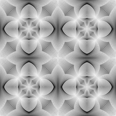convex shape: Design seamless monochrome flower pattern. Abstract decorative background Illustration