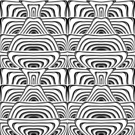 deform: Design seamless monochrome waving pattern. Abstract stripy background