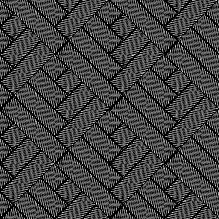 interlace: Design seamless monochrome interlaced pattern. Abstract doodle textured background. Vector art. No gradient