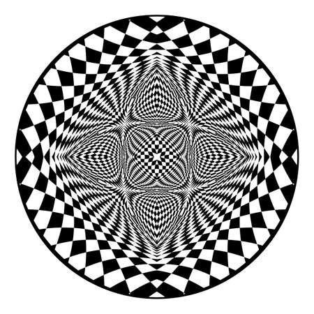 illusion: Design checked circle backdrop. Abstract monochrome element. Vector art Illustration
