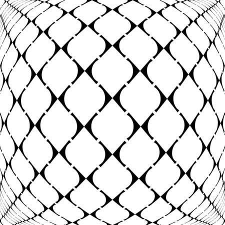 deform: Design warped grid geometric pattern. Abstract monochrome background. Vector art Illustration