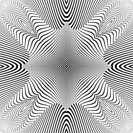 torsion: Design monochrome textured illusion background. Abstract striped torsion backdrop. Vector-art illustration. No gradient