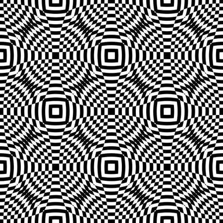 no gradient: Design seamless monochrome checkered pattern. Abstract illusion background. Vector art. No gradient Illustration
