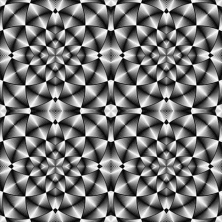 no gradient: Design seamless monochrome mosaic pattern. Abstract geometric background. Vector art. No gradient