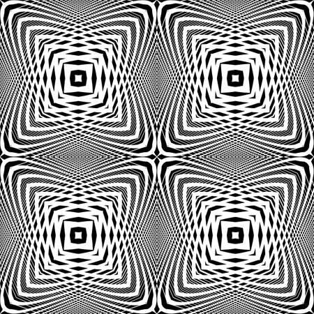 Design monochrome seamless geometric background. Abstract grid distortion pattern. Vector art. No gradient