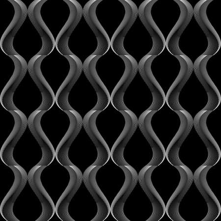 twisting: Design seamless monochrome twisting pattern. Abstract warped textured background. Vector art. No gradient Illustration