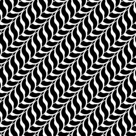 wattle: Design seamless monochrome interlaced pattern. Abstract diagonal background. Vector art