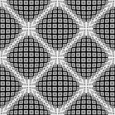 parallelogram: Design seamless monochrome warped diamond pattern. Abstract convex textured background. Vector art. No gradient