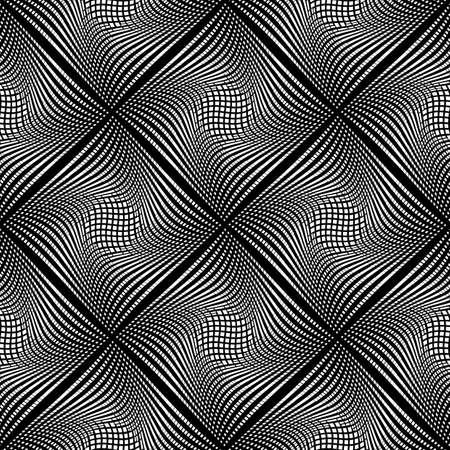 deform: Design seamless monochrome diamond background. Abstract grid textured pattern. Vector art. No gradient