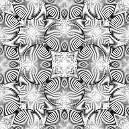 volumetric: Design seamless monochrome geometric pattern. Abstract decorative striped background. Vector art. No gradient