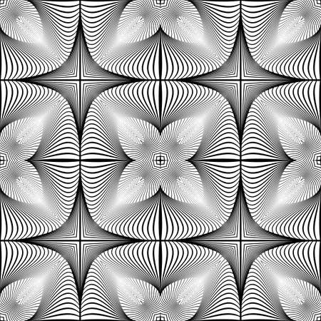 lineas decorativas: Diseño monocromático sin patrón decorativo. Líneas abstractas con textura de fondo. Arte del vector. No degradado