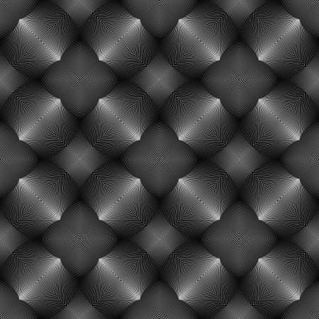 convex shape: Design seamless monochrome illusion pattern. Abstract lines textured background. Vector art. No gradient