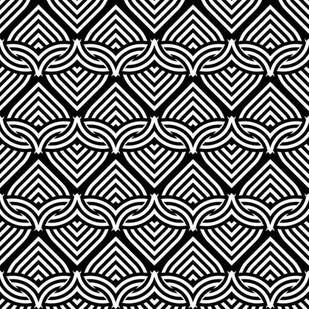 wattle: Design seamless monochrome interlaced pattern. Abstract stripy zigzag background. Vector art