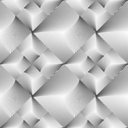 convex: Design seamless tiled geometric pattern. Abstract monochrome lines background. Vector art. No gradient
