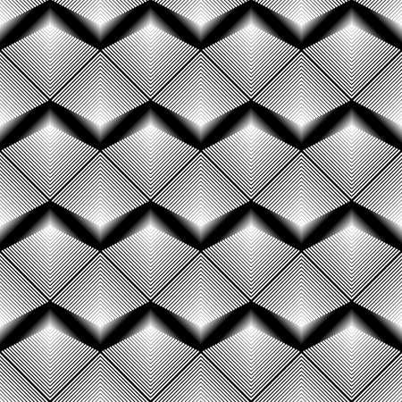 deform: Design seamless monochrome zigzag pattern. Abstract geometric background. Vector art. No gradient Illustration