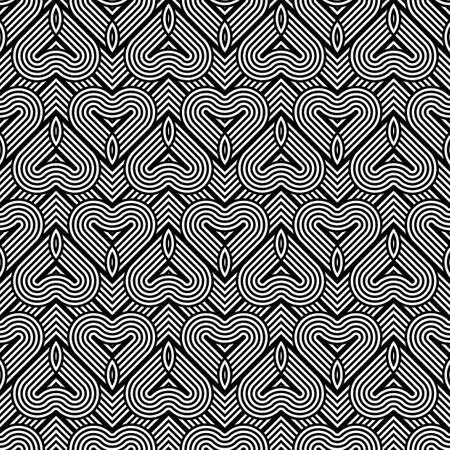 원활한 흑백 기하학적 패턴을 디자인합니다. 초록 줄무늬 배경입니다. 벡터 아트