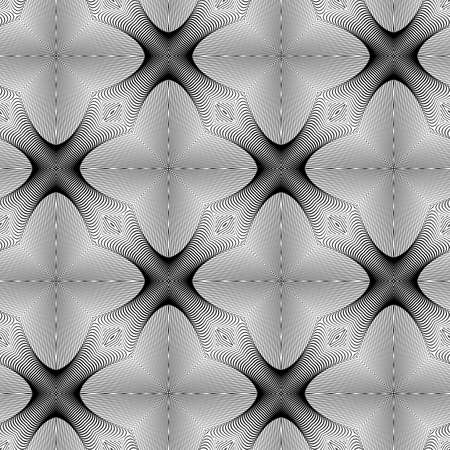convex shape: Design seamless monochrome lines pattern. Abstract geometric background. Vector art. No gradient Illustration