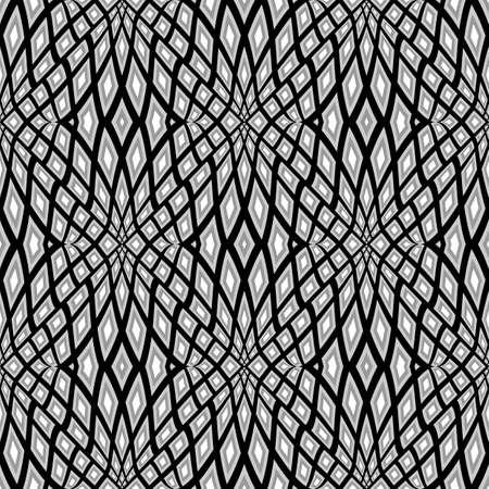 deform: Design monochrome seamless mosaic pattern. Abstract geometric background. Vector art. No gradient