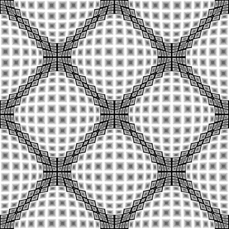convex: Design seamless monochrome warped diamond pattern. Abstract convex textured background. Vector art. No gradient