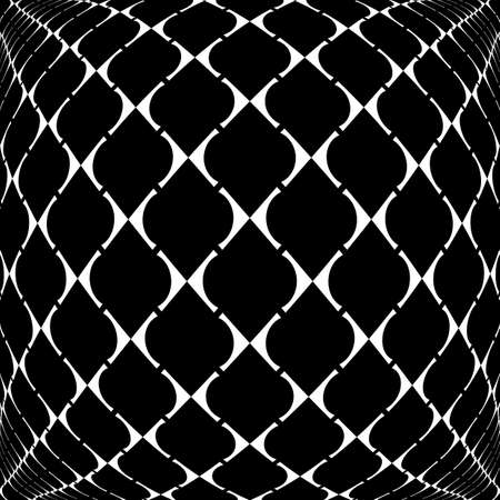 deform: Design warped grid geometric pattern. Abstract monochrome background. Vector art Illustration