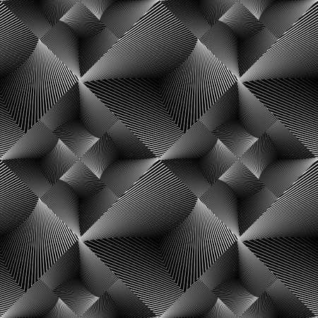 volumetric: Design seamless tiled geometric pattern. Abstract monochrome lines background. Vector art. No gradient