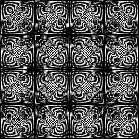 torsion: Design seamless monochrome illusion background. Abstract grid torsion pattern. Vector art. No gradient