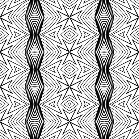 deform: Design seamless monochrome decorative pattern. Abstract geometric background. Vector art. No gradient Illustration