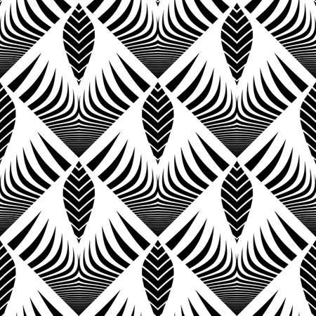 Design seamless monochrome striped pattern. Abstract decorative background. Vector art. No gradient