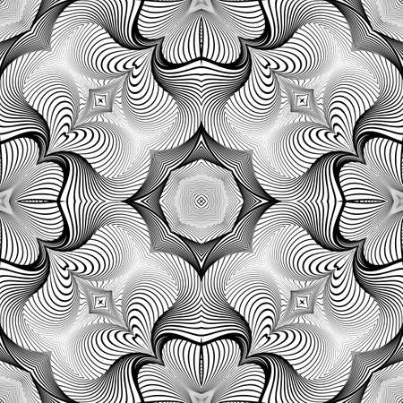 no lines: Design seamless monochrome decorative pattern. Abstract lines textured background. Vector art. No gradient