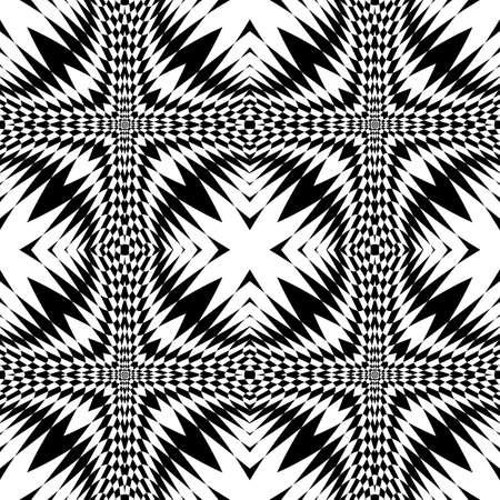 Design seamless monochrome geometric pattern. Abstract illusion background. Vector art. No gradient Ilustrace