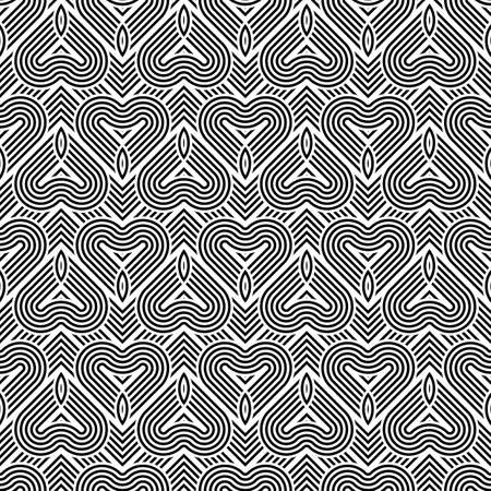 deform: Design seamless monochrome geometric pattern. Abstract stripy background. Vector art