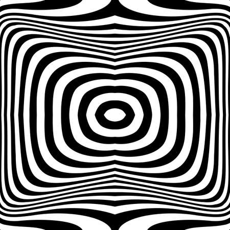 Design monochrome illusion background. Abstract stripe torsion backdrop. Vector-art illustration