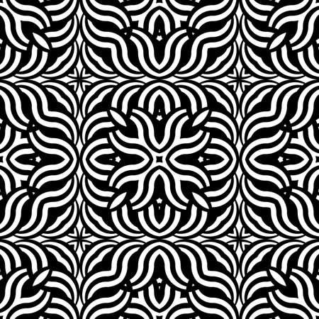 wattle: Design seamless monochrome interlaced pattern. Abstract geometric stripy background. Vector art