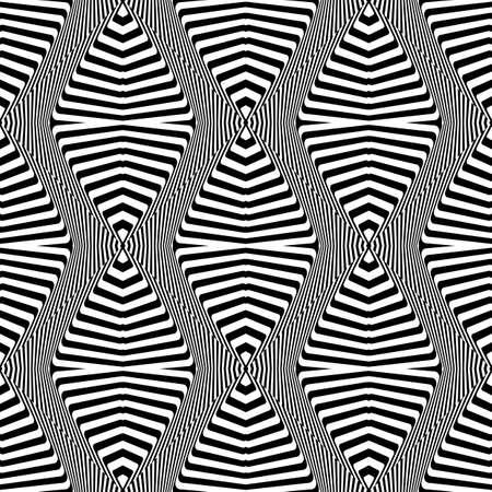 deform: Design seamless monochrome geometric pattern. Abstract striped background. Vector art