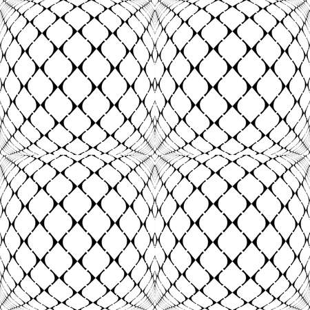 concave: Design seamless warped grid geometric pattern. Abstract monochrome background. Vector art. No gradient