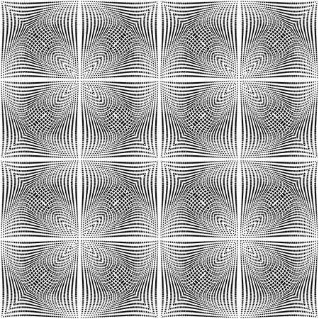torsion: Design seamless monochrome background. Abstract grid torsion pattern. Vector art. No gradient