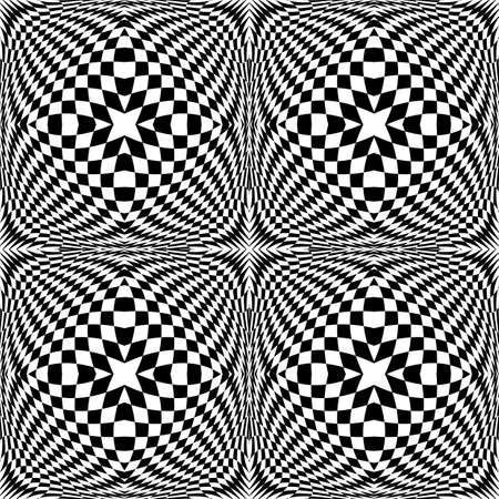 deform: Design seamless monochrome checked pattern. Abstract geometric background. Vector art. No gradient Illustration