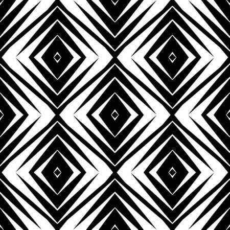 シームレスなダイヤモンドのデザイン パターン。白黒の幾何学的な抽象的な背景。ベクター アートです。グラデーションなし