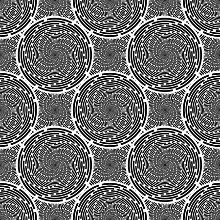 twirl: Design seamless monochrome twirl movement background. Abstract decorative pattern. Vector art. No gradient