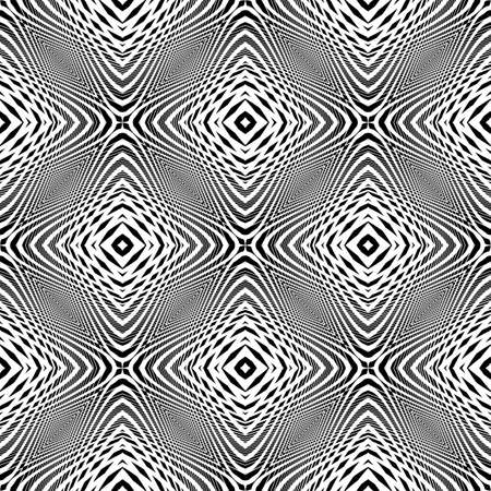 lines pattern: Design monochrome seamless geometric background. Abstract grid distortion pattern. Vector art. No gradient