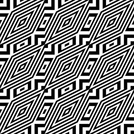 seamless pattern: Design seamless monochrome diamond pattern. Abstract striped background. Vector art. No gradient