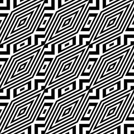 Ontwerpen naadloze zwart-wit diamantpatroon. Abstracte gestreepte achtergrond. Vector art. geen gradiënt Stock Illustratie