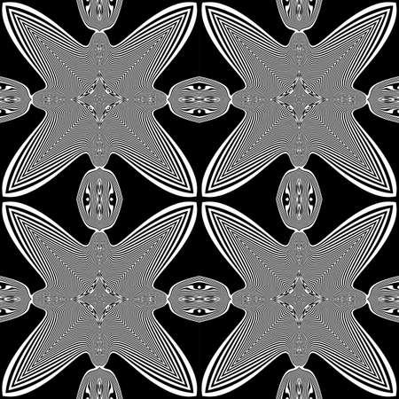 no gradient: Design seamless monochrome striped pattern. Abstract decorative background. Vector art. No gradient