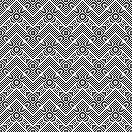 deform: Design seamless monochrome geometric pattern. Abstract stripy background. Vector art