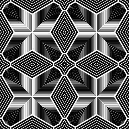 no gradient: Design seamless monochrome geometric pattern. Abstract striped background. Vector art. No gradient
